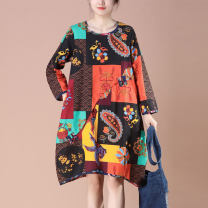 Dress Spring 2021 Decor Average size Short skirt singleton  Long sleeves commute Crew neck Loose waist Decor Socket A-line skirt routine Others 35-39 years old Type A Xu ran ethnic style printing A51139 More than 95% other hemp