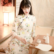 Dress Autumn 2020 Colorful S,L,M Mid length dress singleton  three quarter sleeve commute stand collar Loose waist Decor Socket routine Others 25-29 years old Type A literature printing More than 95% other cotton