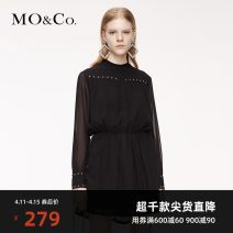Dress Summer 2020 black XS/155 S/160 M/165 L/170 XL/175 Short skirt singleton  Long sleeves street Solid color 25-29 years old MO & Co. / Moco MBO3DRSX05 More than 95% polyester fiber Polyester 100% Same model in shopping mall (sold online and offline) Europe and America