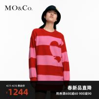 Dress Spring 2021 Rose Red Black XS/155 S/160 M/165 L/170 XL/175 Short skirt singleton  Long sleeves street Crew neck Socket 25-29 years old MO & Co. / Moco More than 95% wool Wool 100% Same model in shopping mall (sold online and offline) Europe and America