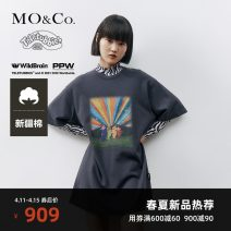 Dress Spring 2021 Ink blue XS/155 S/160 M/165 L/170 XL/175 Short skirt singleton  Short sleeve street Crew neck Socket routine 25-29 years old MO & Co. / Moco MBA1DRS001 More than 95% cotton Cotton 100% Same model in shopping mall (sold online and offline) Europe and America