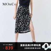 skirt Summer 2021 XS/155 S/160 M/165 L/170 XL/175 White on black Mid length dress street High waist 25-29 years old 91% (inclusive) - 95% (inclusive) MO & Co. / Moco Viscose Same model in shopping mall (sold online and offline) Europe and America