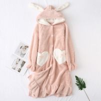 Nightdress Z.Moment Crushed flower rabbit ear down skirt, grey green, green rabbit ear comfortable cotton down suit, pink duck coral down nightdress, purple duck coral down nightdress Average size Sweet Long sleeves Leisure home Middle-skirt winter Solid color youth Hood Polyester (polyester)