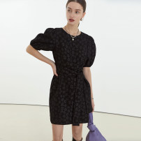 Dress Spring 2021 Black, black second batch S,M,L Short skirt singleton  Short sleeve commute Crew neck High waist Decor Socket other puff sleeve Others 18-24 years old fano studios Simplicity FC21L042 More than 95% other polyester fiber