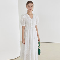 Dress Summer 2021 White, white second batch S,M,L longuette singleton  Short sleeve commute V-neck Loose waist Solid color Socket other puff sleeve Others 18-24 years old fano studios Simplicity FX21L046 More than 95% other cotton