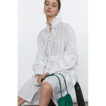 Dress Spring 2021 White, white second batch XS,S,M,L Mid length dress singleton  Long sleeves commute stand collar Loose waist Solid color Socket A-line skirt routine Others 18-24 years old Type A fano studios Simplicity FC21L005 More than 95% other cotton