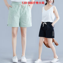 Casual pants Black, light green 2XL,3XL,4XL,5XL Winter of 2019 shorts Other styles 81% (inclusive) - 90% (inclusive) 69202 cotton and linen shorts Qi is in love other Embroidery cotton