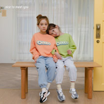 T-shirt Orange (7-15 days reservation) and light green (7-15 days reservation) Other / other S (90cm height), m (100cm height), l (110cm height), XL (120cm height), JS (130cm height), JM (140cm height), JL (150cm height) female Long sleeves Crew neck Korean version nothing Cotton blended fabric