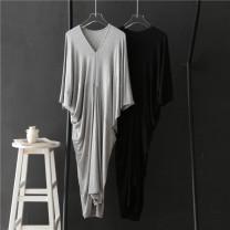Dress Summer 2020 Light grey, black Average size longuette singleton  Short sleeve commute V-neck High waist Solid color Socket Bat sleeve Others Splicing 81% (inclusive) - 90% (inclusive) modal