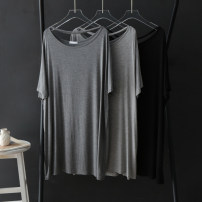 Dress Summer 2020 Dark grey, light grey, black, navy Average size Mid length dress singleton  Short sleeve One word collar Loose waist Socket other routine Others Type H 81% (inclusive) - 90% (inclusive) modal