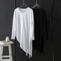 T-shirt White, black Average size Autumn 2020 Long sleeves Crew neck easy Medium length routine cotton 86% (inclusive) -95% (inclusive) Solid color Asymmetry