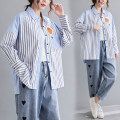 Women's large Spring 2021 blue shirt singleton  commute easy moderate Cardigan Long sleeves stripe literature Polo collar routine cotton Collage shirt sleeve Other / other 25-29 years old pocket 81% (inclusive) - 90% (inclusive)