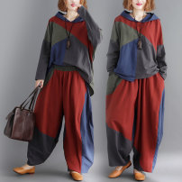 Fashion suit Autumn of 2019 Large average size [100-200kg] 9128 top, 9129 pants, 9130 suit 25-35 years old Other / other 81% (inclusive) - 90% (inclusive) cotton