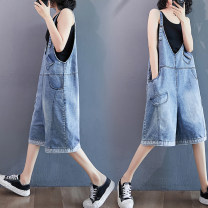 Women's large Summer 2020 Blue grey XL [95-140 kg], 2XL [140-180 kg] Jeans singleton  commute easy moderate Conjoined Solid color literature Denim Three dimensional cutting Other / other 25-29 years old pocket 71% (inclusive) - 80% (inclusive) Pant straps
