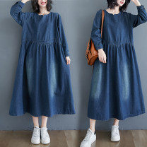 Women's large Spring 2021 blue M [100-125 Jin], l [125-150 Jin], XL [150-175 Jin], 2XL [175-200 Jin] Dress singleton  commute easy moderate Socket Long sleeves Solid color literature V-neck Denim, cotton Collage shirt sleeve Other / other 25-29 years old pocket 71% (inclusive) - 80% (inclusive) other
