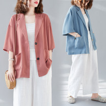 Women's large Summer 2020 Haze blue suit, brick red suit, black suit, apricot suit L [100-140 Jin], XL [140-180 Jin] suit singleton  commute easy moderate Cardigan elbow sleeve Solid color literature other routine other Three dimensional cutting routine Other / other 25-29 years old pocket