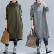 Women's large Autumn 2020, winter 2020 Grey, green, black Dress singleton  commute easy thickening Socket Long sleeves Solid color literature High collar Cotton, hemp Three dimensional cutting routine Other / other 25-29 years old pocket 71% (inclusive) - 80% (inclusive) longuette Irregular skirt