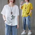 Women's large Summer 2021 White, yellow, black Large average size [100-200kg] T-shirt singleton  commute easy moderate Socket Short sleeve other literature Crew neck routine other printing and dyeing routine Other / other 25-29 years old Asymmetry 71% (inclusive) - 80% (inclusive)