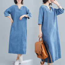 Women's large Autumn 2020 blue M [100-120 Jin], l [120-140 Jin], XL [140-160 Jin], 2XL [160-180 Jin] Dress singleton  commute easy moderate Socket three quarter sleeve Solid color literature V-neck Denim Three dimensional cutting routine Other / other 25-29 years old pocket longuette other