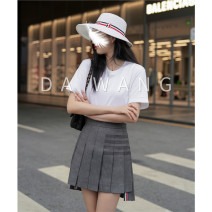 skirt Summer 2021 0 (38) pre-sale 7 working days , 1 (40) spot second non refundable , 2 (42) no return and exchange , 3 (44) spot second non return , Do not support seven days return without reason grey Short skirt Versatile Natural waist Pleated skirt Solid color Type A