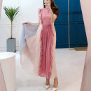 Dress Summer of 2019 Picture color S,M,L,XL Mid length dress singleton  Sleeveless commute Crew neck High waist Solid color Socket Big swing Lotus leaf sleeve Others Type A Korean version Chiffon
