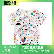 T-shirt 9341 white / flower spot 27KIDS 90cm,100cm,110cm,120cm,130cm,140cm neutral summer Short sleeve Crew neck Korean version No model nothing Pure cotton (100% cotton content) Cartoon animation Class A other