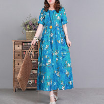 Dress Spring 2021 Blue, yellow, green M,L,XL Mid length dress singleton  Short sleeve commute Crew neck Loose waist Decor Socket Big swing routine Type A literature 51% (inclusive) - 70% (inclusive) hemp