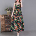 Dress Spring 2021 Yellow, green, dark blue, big saffron, pink, little saffron, big blue, big red Average size Mid length dress singleton  Sleeveless commute Loose waist Decor Socket Big swing camisole Type A literature Lace up, printed 51% (inclusive) - 70% (inclusive) hemp