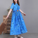 Dress Spring 2021 Blue, yellow, purple M,L,XL Mid length dress singleton  Short sleeve commute Crew neck Loose waist Decor Socket Big swing routine Type A literature 51% (inclusive) - 70% (inclusive) hemp