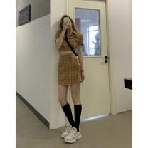Fashion suit Spring 2021 S,M,L Orange Plaid top, orange plaid skirt, black top, black skirt 18-25 years old QT7456、QL7467 51% (inclusive) - 70% (inclusive) polyester fiber