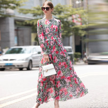 Dress Spring 2021 Decor S,M,L,XL longuette singleton  Long sleeves street Crew neck Elastic waist Socket A-line skirt routine Others Type A printing other other Europe and America