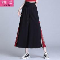 Casual pants black M,L,XL,2XL Summer 2021 Ninth pants Wide leg pants High waist Versatile Thin money other Embroidery polyester fiber