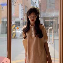 Dress Summer 2020 White lapel, blue lapel Average size Short skirt singleton  Short sleeve Solid color knitting