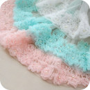 lace White, light pink, mint green (bluer) HX-12 Embroidery Dress for children