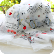 Fabric / fabric / handmade DIY fabric Netting white Loose shear Plants and flowers jacquard weave clothing Countryside