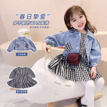 suit Other / other Black two-piece suit, plaid skirt, denim coat The recommended height is about 80cm for size 5 / 80, 90cm for size 7 / 90, 100cm for size 9 / 100, 110cm for size 11 / 110, 120cm for size 13 / 120 and 130cm for size 15 / 130 female spring and autumn Korean version Long sleeve + skirt