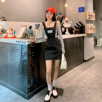 Dress Summer 2021 black S,M,L Short skirt singleton  Sleeveless commute other High waist Solid color straps 18-24 years old Type H X21Q2503 30% and below other other