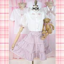 shirt Gold embroidered heart button shirt, heart-shaped hollowed out baby collar shirt, English embroidered saliva towel shirt, heart-shaped belt, half skirt with pink lattice, five joint teddy bear Average size Autumn 2020 other 96% and above Short sleeve Sweet Short style (40cm < length ≤ 50cm)