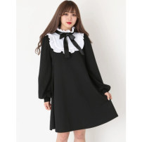 Dress Spring of 2019 Average size Short skirt singleton  Long sleeves Sweet Lotus leaf collar Loose waist Solid color Socket Big swing bishop sleeve Others Type A Other / other More than 95% knitting cotton Lolita