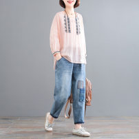 Casual suit Spring 2021 Pink + blue pants M,L,XL Other / other 71% (inclusive) - 80% (inclusive) hemp