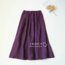 skirt Winter of 2019 Average size violet longuette commute Natural waist A-line skirt Solid color Type A More than 95% hemp literature