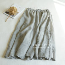 skirt Spring of 2019 Average size Black, light gray, pink, aqua Mid length dress commute Natural waist A-line skirt Solid color Type A More than 95% hemp literature