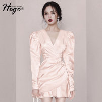 Dress Spring 2021 Light pink XS S M L Short skirt singleton  Long sleeves commute V-neck High waist Solid color Socket routine 25-29 years old Hego Retro BH6931-1 More than 95% polyester fiber Polyester 96% polyurethane elastic fiber (spandex) 4%