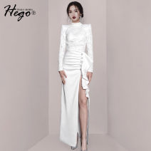 Dress / evening wear Weddings, adulthood parties, company annual meetings, daily appointments XS S M L white fashion longuette High waist Spring 2021 Fall to the ground 26-35 years old BH6974 Long sleeves Solid color Hego routine Polyamide fiber (nylon) 75% viscose fiber (viscose) 25%