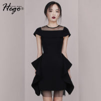 Dress Summer of 2019 black XS S M L Short skirt singleton  commute Crew neck High waist Solid color A-line skirt 25-29 years old Hego Retro Gauze BH6216 More than 95% polyester fiber Polyester 100% Pure e-commerce (online only)