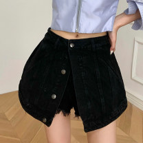 skirt Spring 2021 XS,S,M,L Denim black Short skirt commute High waist A-line skirt Solid color Type A 25-29 years old D210224-7867 Denim cotton Button