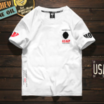T-shirt Youth fashion White, black routine M,L,XL,2XL RUSHSOUL Short sleeve Crew neck standard Other leisure summer youth routine tide Cotton wool 2019 Alphanumeric Embroidered logo cotton Creative interest washing More than 95%