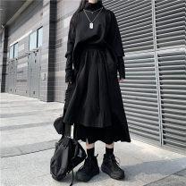 Fashion suit Autumn 2020 Average size Black top + black skirt, black top, black skirt polyester fiber