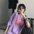 T-shirt Purple, blue Average size Summer 2020 Short sleeve Crew neck easy Regular routine commute cotton 31% (inclusive) - 50% (inclusive) 18-24 years old Korean version