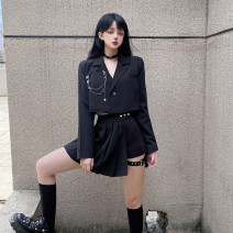 Fashion suit Autumn 2020 S,M,L Trouser skirt, top with chain 18-25 years old 96% and above polyester fiber